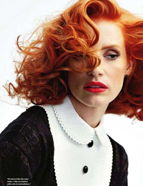 Short red wavy hair