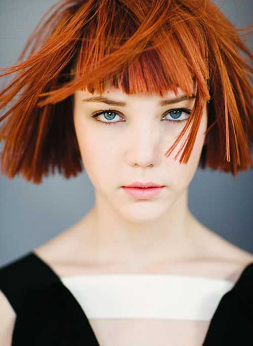 Red choppy hair