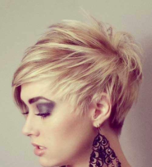 Short blonde asymmetrical hairstyles