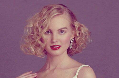 Short blonde curly wedding hairstyles