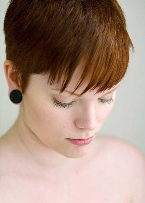 Short brown pixie cut