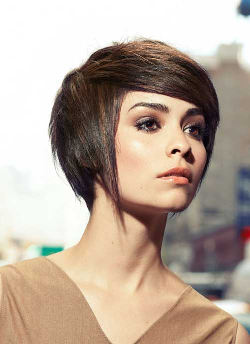 Short straight hair with side swept bangs