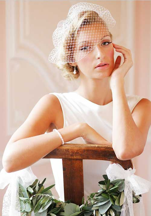 Short hair wedding hairstyles with veil