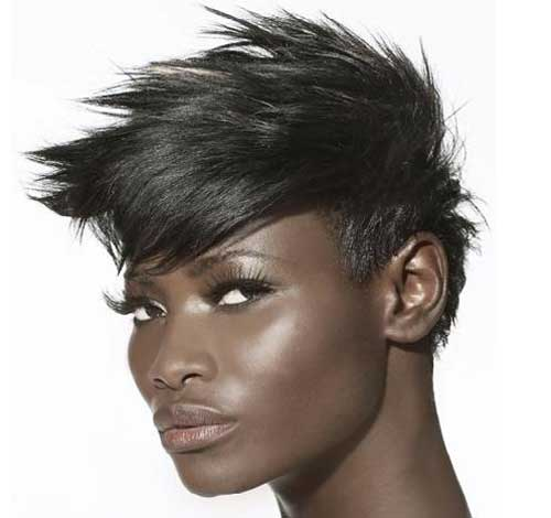 Short spiky hair for black women