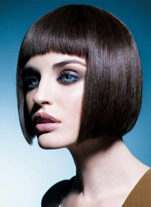Short straight haircuts with bangs