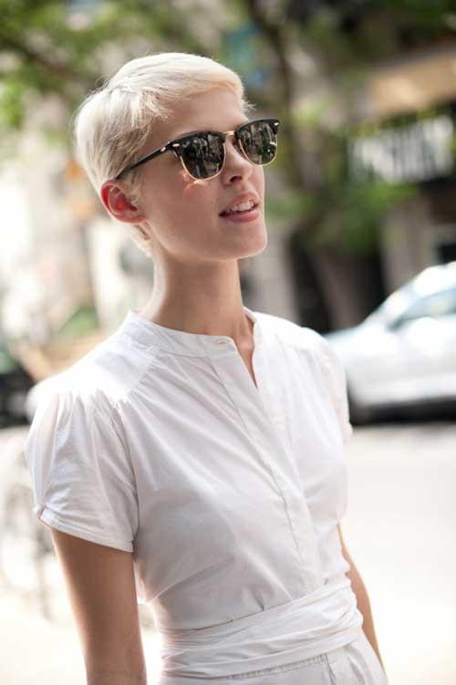 Short blonde trendy haircut