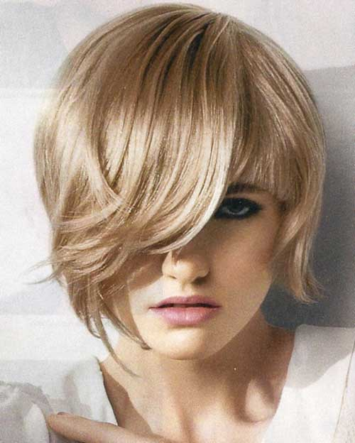 Blonde asymmetrical bob hair