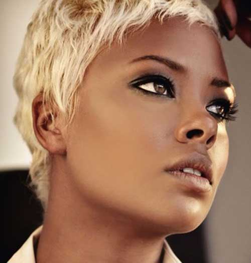 Black celebrities with short blonde hair