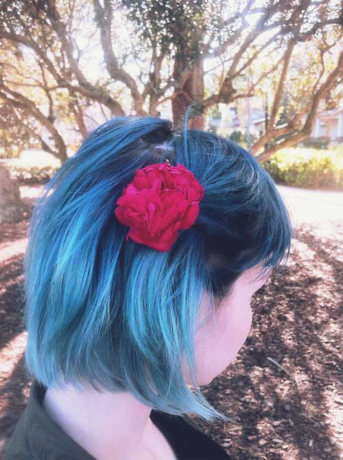 Short black and blue hairstyles