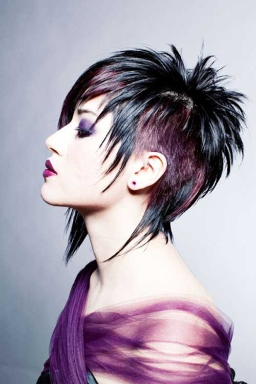 Black and purple short hair