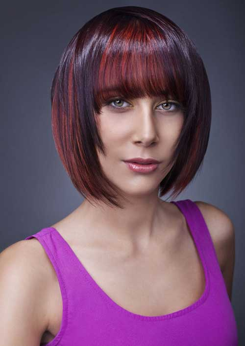 Short haircuts with red highlights