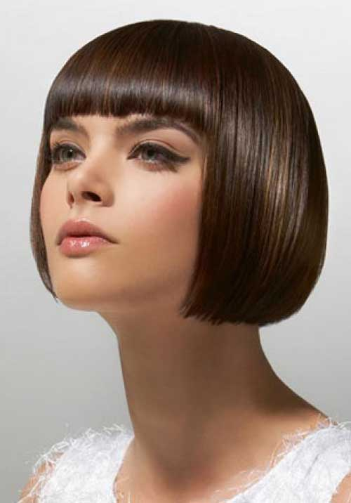 Short bob haircuts with blunt bangs