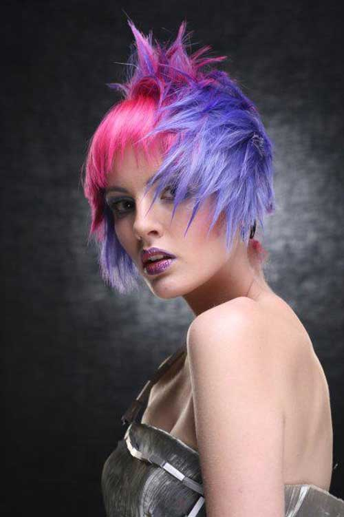 Short pink and purple hair styles