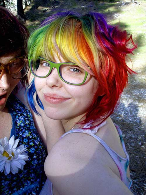 Short rainbow hair cuts