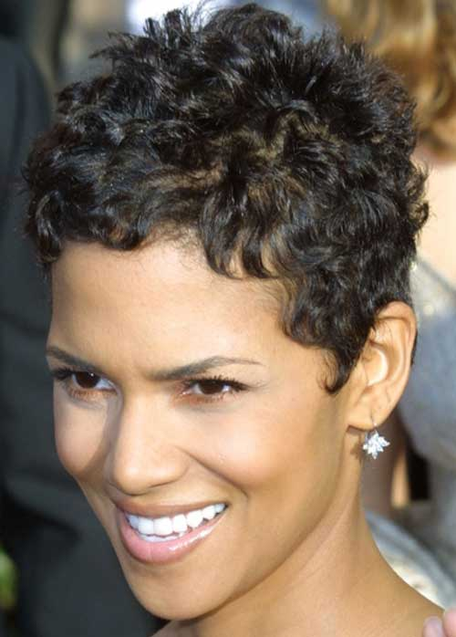 Another lady carried short haircut with curly hairs.