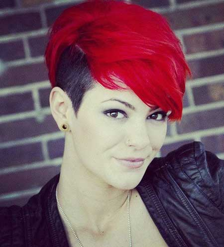 Red undercut hair