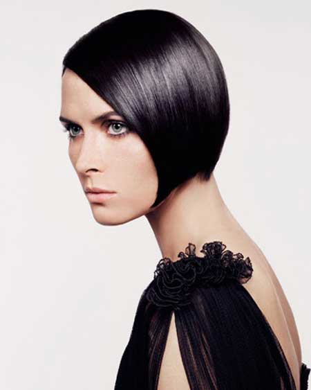 Short black colored hairstyle