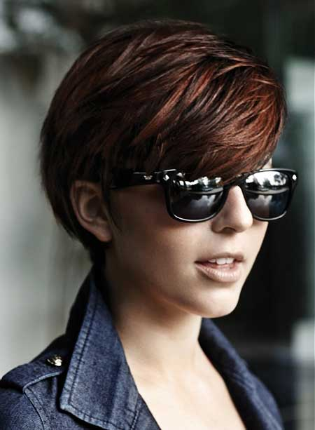 Short brown straight hairstyle