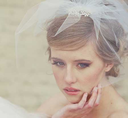 Wedding short hairstyles with veil
