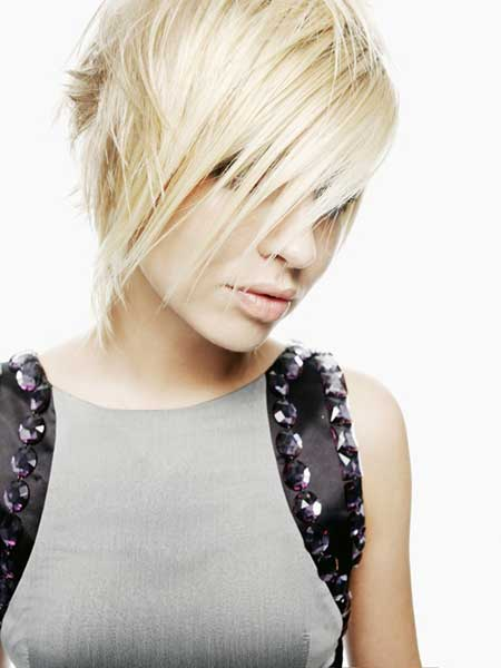 Trendy short blonde haircut