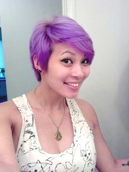 Lilac-Pastel Highlighted Pixie Hairstyle