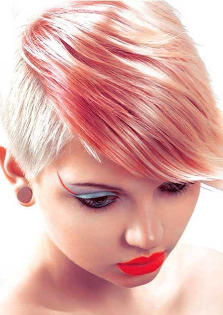 Pastel-Highlighted Short Pixie Hairstyle