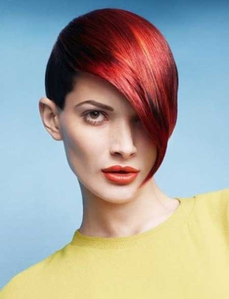 Red Hot Rhythm Geometric Hairstyle