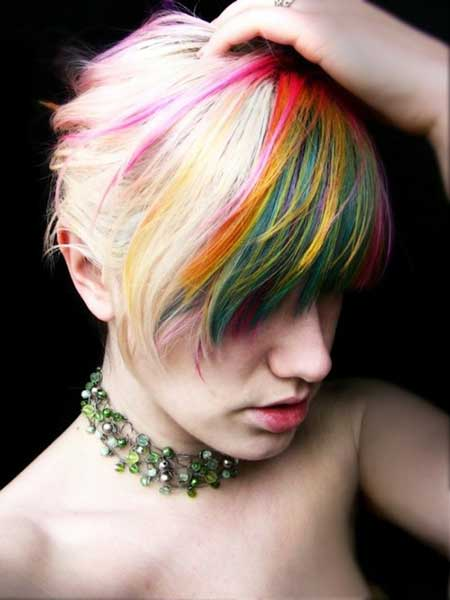 Short Blonde Hair with a Variety of Colored Stripes