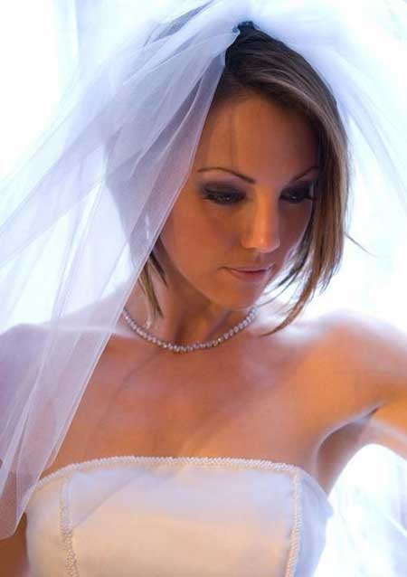 Short Bob with Long Bangs Bridal Look