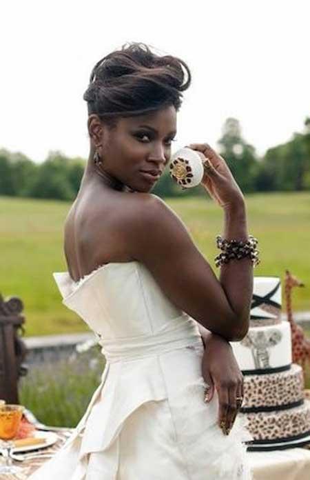 Short Bridal Hairstyle with Long Bangs