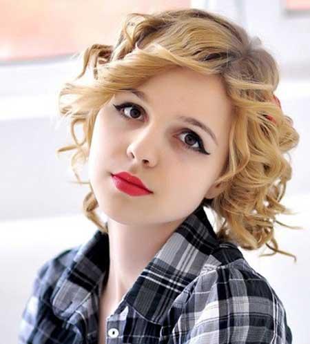 Short Curly Hair with Longe Bangs