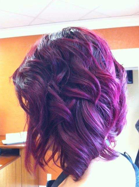 Short Wavy Purple Hairstyle