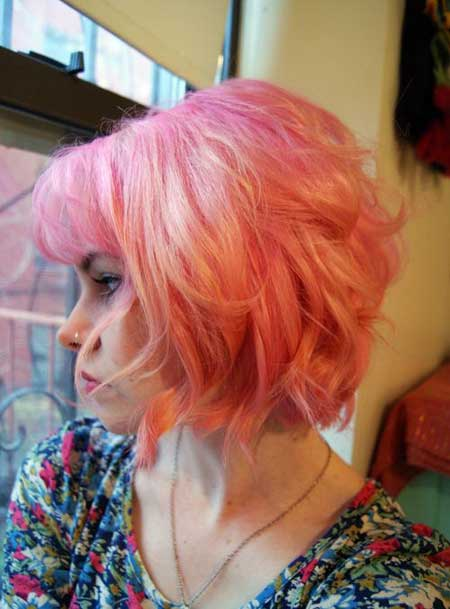 Short haircuts with pink color