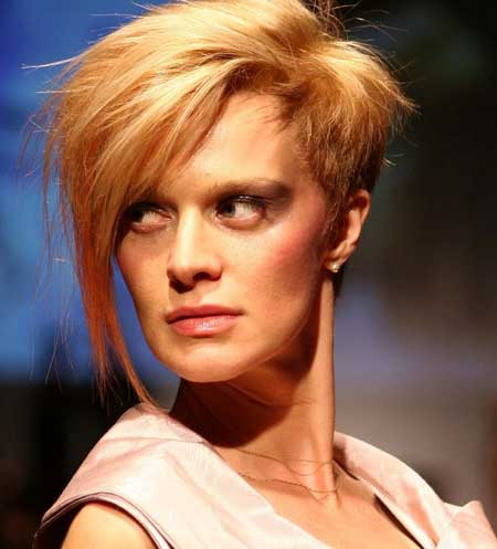 Trendy short asymmetrical haircut