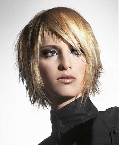 Trendy short hairstyle for thick hair