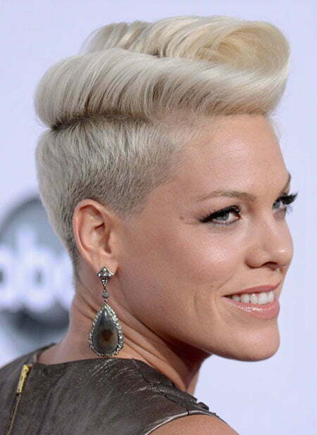 celebrity short hairstyles pink