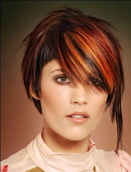 Asymmetric Brown, Red, and Orange Bob Hairstyle