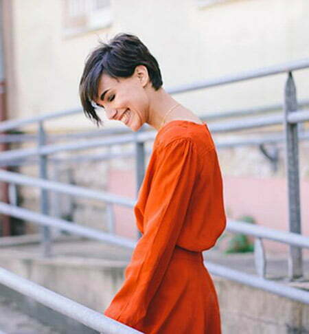 Attractive Pixie Cut with Long Bangs