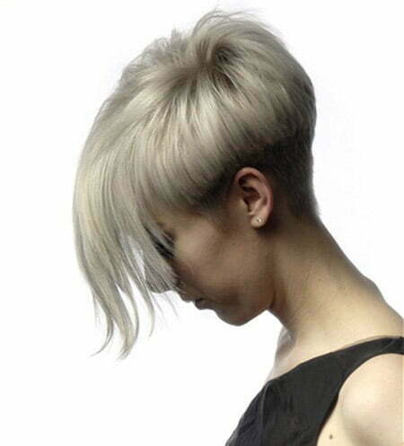Awesome Pixie Cut with Very Long Bangs