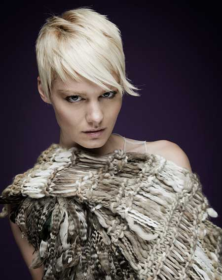 Blonde Pixie Hairstyle with Jagged Bangs