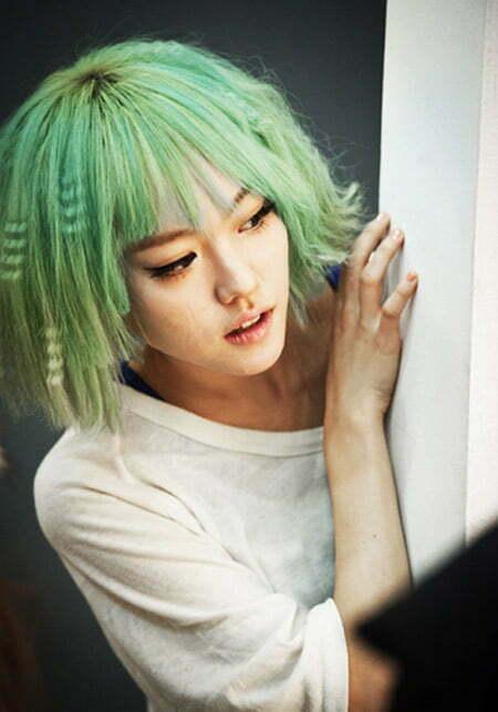 Charming Green Bob Cut