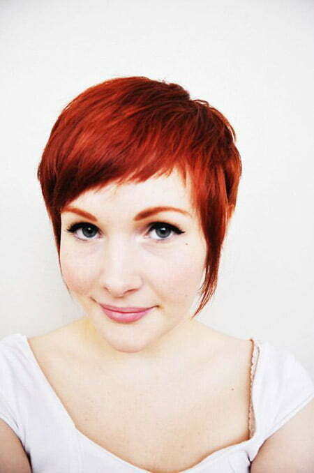 Charming Warm Red Pixie Cut