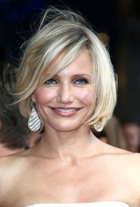 Classic Bob Hairstyle with Side-swept Bangs