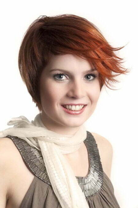 Cool Copper-colored Pixie with Side-swept Bangs