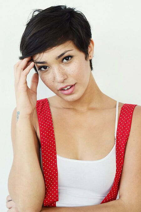 Cool Pixie Cut with Side-swept Bangs