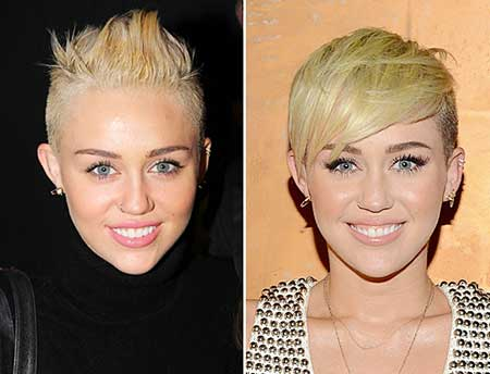 Cool Shaven Short Hairstyle of Miley Cyrus