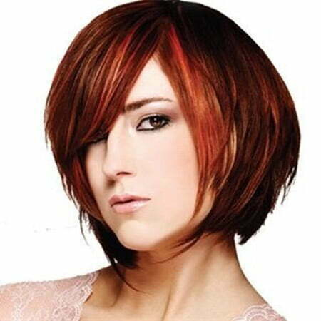 Fantastic Henna Copper-colored Asymmetric Bob Cut