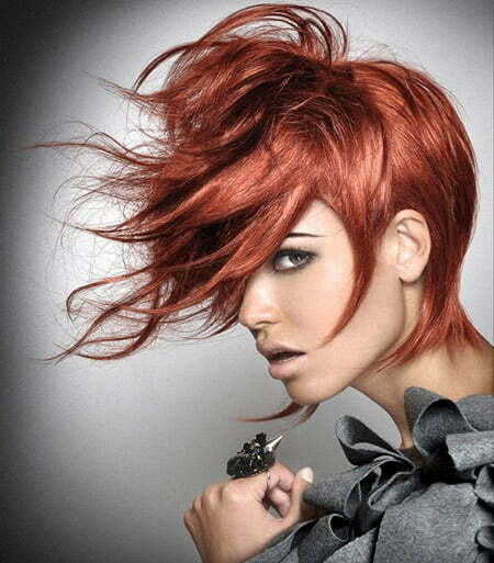 Fantastic Modern Red Pixie Cut