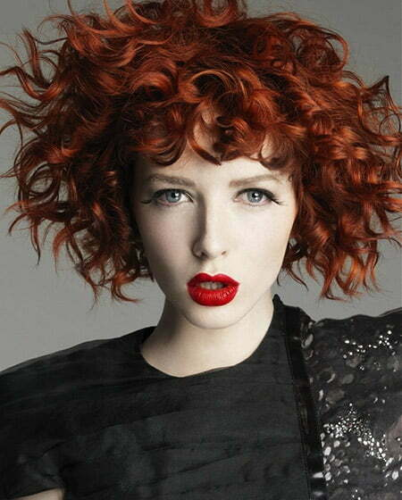 Fiery Copper-colored Curly Hairstyle