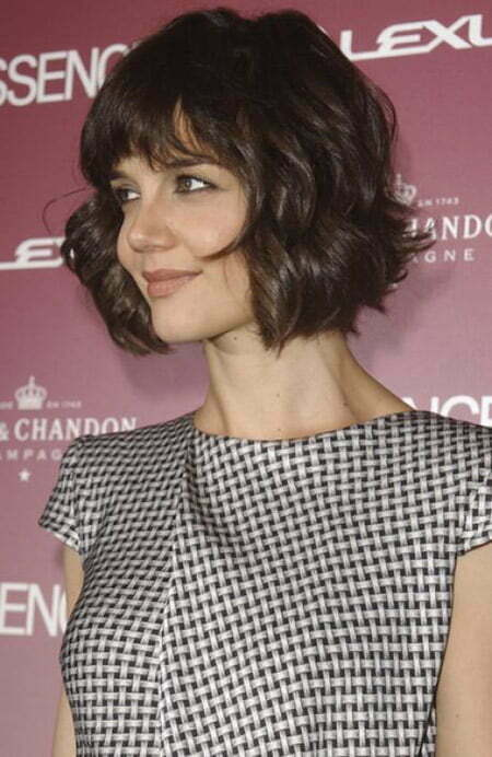 Latest short wavy hairstyles short hairstyles 2016 2017 most katie holmes awesome wavy bob cut urmus Choice Image